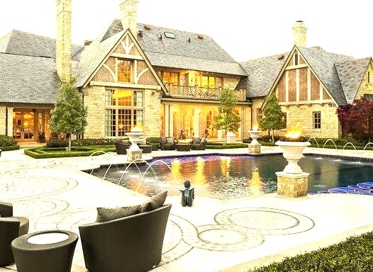 Mansion with Fountain Pool Out Front