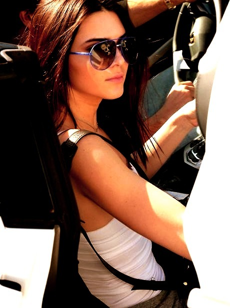 Kendall Jenner in a Ferrari