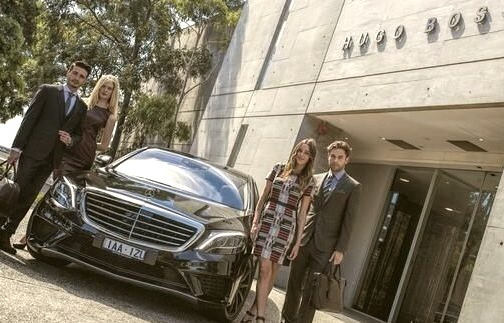 New Mercedes Benz S Class Outside of a Hugo Boss Store